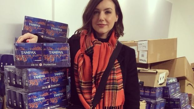 Sali Hughes with Beauty Banks donations. Hughes is open to someone launching an Irish version of her charity