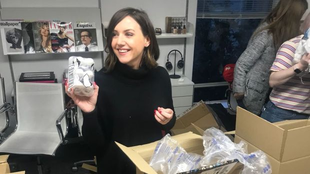 Sali Hughes with Beauty Banks donations.