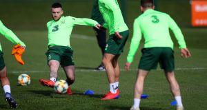 Jack Byrne at Republic of Ireland Squad Training at the FAI National Training Centre in Dublin on Wednesday. Photograph: Ryan Byrne/Inpho