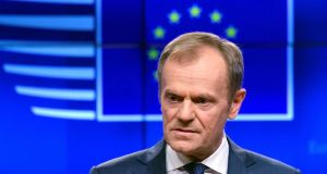 European Council president Donald Tusk  responded warmly to the letter British prime minister Theresa May sent him on Wednesday seeking an extension to article 50. Photograph: Toby Melville/Reuters
