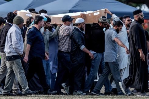 CHRISTCHURCH: A coffin containing the body of a victim of the Christchurch terrorist attack is carried for burial at Memorial Park Cemetery on March 20th in Christchurch, New Zealand. Fifty people were killed, and dozens are still injured in hospital after a gunman opened fire on two mosques on Friday, March 15th. The accused attacker, a 28-year-old Australian, has been charged with murder and remanded in custody until April 5th. The attack is the worst mass shooting in New Zealand's history. Photograph: Carl Court/Getty
