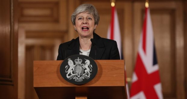 British prime minister Theresa May making a statement inside 10 Downing Street in London on Wednesday night. Photograph: Jonathan Brady/AFP/Getty Images