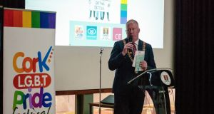 A  handbook on how to create safe spaces for LGBT teens in secondary schools has been launcged by Cork Lord Mayor Cllr Mick Finn. Photograph: Som / CIT LGBT Society