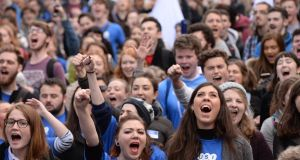 A Union of Students of Ireland (USI) protest over public investment in third level  level in 2017.  Photograph: Dara Mac Dónaill / The Irish Times