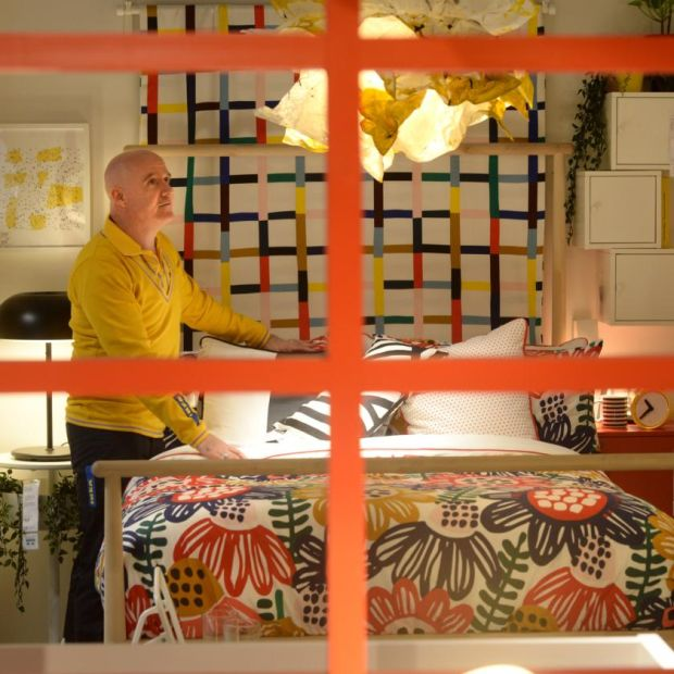 Ikea shift: Conor Pope in one of the store's display bedrooms. Photograph: Dara Mac Dónaill