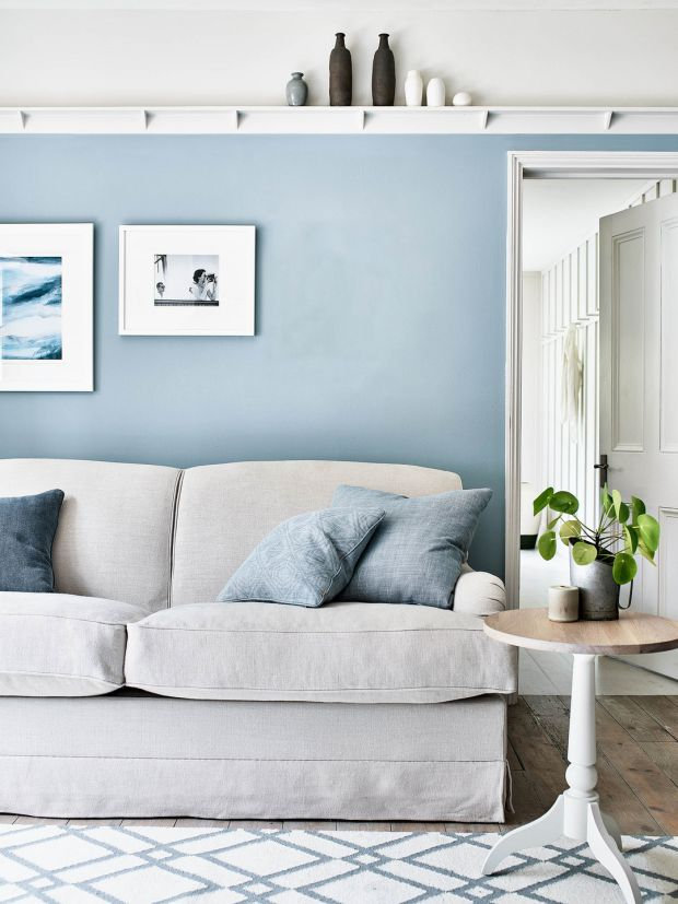 Calm and serene, Neptune's new Olivia sofa bed in Hugo Pale Oat, €3,430, with flax blue walls and scatter cushions in Chloe denim and Harry flax blue, from €62. See neptune.com