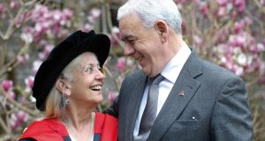 Paula Meehan with her partner, fellow poet Theo Dorgan. Photograph: Kenneth O Halloran