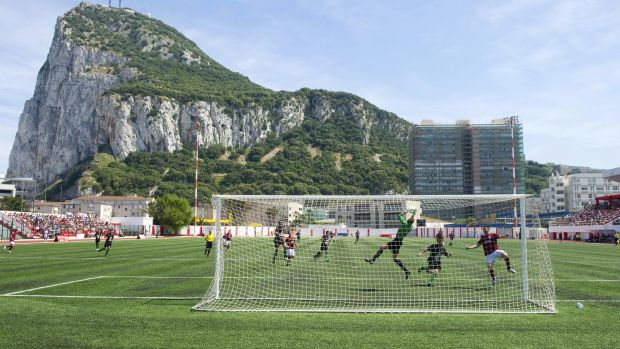 Lincoln Red Imps FC and College Europa FC's players take part in the Gibraltar Cup final football match at the Victoria Stadium in Gibraltar on May 10th, 2014. Photograph: Getty Images