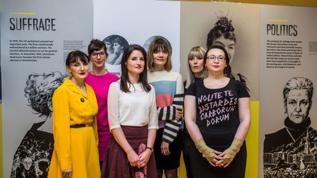 (L/R) Sinéad Gleeson is accompanied by other Irish writers Emilie Pine, Dr Angela Byrne, Etna Shorthall, Wendy Erskine, Laura Foley at the Irish Writers Centre Nollaig na Mban event at the EPIC Irish Emigration Museum. Photograph: James Forde
