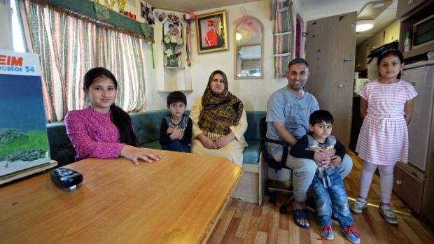 Ahmed Idris and his wife Nazia with their children Alishbah, Aliza, Anas, and Soban, seen in 2016, who grew up living in a caravan at the Athlone Accommodation Centre. Photograph: Eric Luke/The Irish Times