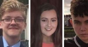 Morgan Barnard (left), Lauren Bullock and Connor Currie (right) died following a crush outside the St Patrick's Day disco in Cookstown, Co Tyrone.