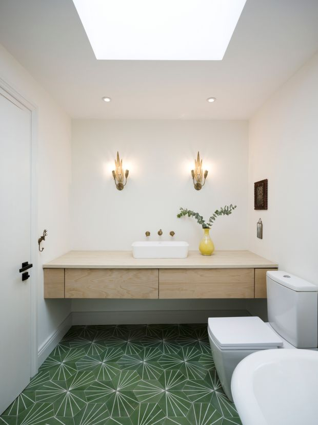 The bathroom is illuminated by the roof light. Photograph: Aisling McCoy