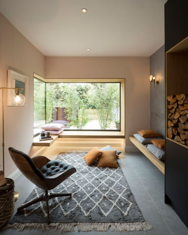 Downstairs in the new extension, where bamboo brings in a sense of the garden. Photograph: Aisling McCoy