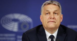 "The EPP, in its statement, cites a number of admirable ""European values"" to which it insists it will now require Fidesz to demonstrate its commitment. Anyone who thinks Fidesz leader Viktor Orbán will ever promote these values has not been listening to a word he has said over the last 10 years. Photograph: Stephanie Lecocq/EPA"