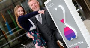Double lung transplant recipient David Crosby from Kingscourt , Co Cavan, with his daughter Erin (8) at the GPO, Dublin to launch the special stamp. Photograph: Maxwell Photography