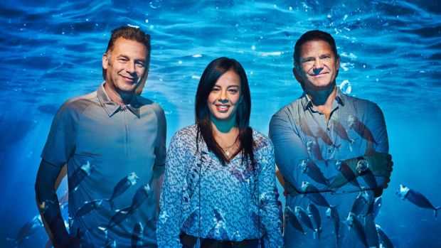 Blue Planet Live: Chris Packham, Liz Bonnin, Steve Backshall. Photograph: BBC/Joe Giacomet