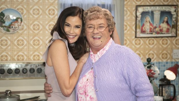 Programme Name: All Round to Mrs Brown's: Teri Hatcher and Mrs Brown (Brendan O'Carroll). Photograph: BBC/BocPix/Graeme Hunter