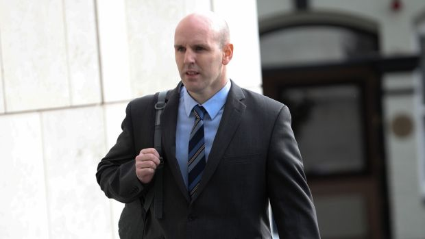 Detective Garda Paul Fitzpatrick pictured arriving at the trial. Photograph: Collins Courts