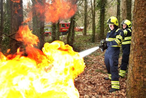 Firemen Mervin Griffin and Paddy Kinsella from Rathdrum Fire Brigade  in action at Coillte's National Fire Training Day for 2019. Photograph: Robbie Reynolds