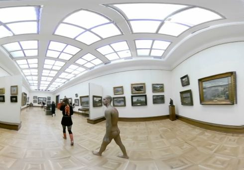 A naked man in Tretyakov Gallery, Moscow, Russia. Photograph: Reuters