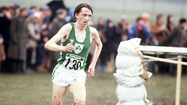 John Treacy on his way to winning the World Cross-County Championship for the second successive year at Limerick racecourse in 1979. Photograph: Inpho/Getty Images