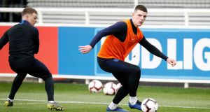 "England's Declan Rice  during the team's training session at St George's Park, Burton. ""It's not representative of what Declan believes and feels, and his views,"" said the England manager. Photograph: Martin Rickett/PA Wire"