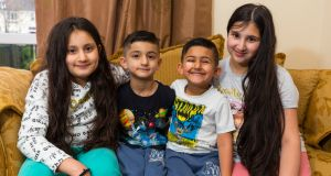 From left to right: Aliza (10), Anas (7), Shoban (5) and Alishbah (12) Idris, children of Ahmed and Nazia Idris, at their home in Athlone. Photograph: Tom O'Hanlon