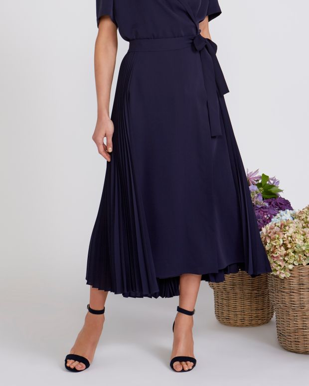 Peter O'Brien for Dunnes: detail of pleated wrap skirt, €150