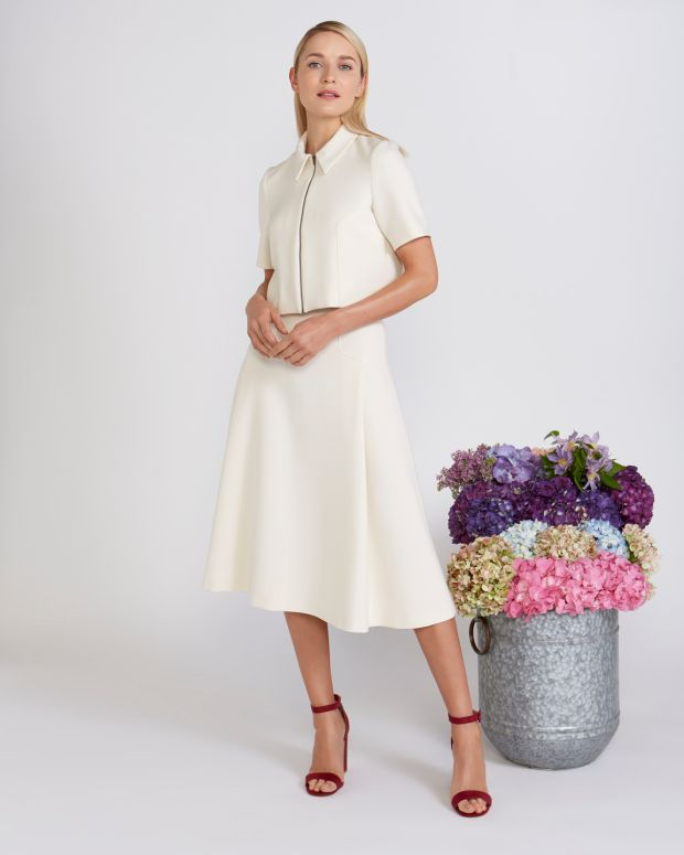 Peter O'Brien for Dunnes: collar top, €120, and A-line skirt, €150