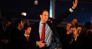 Wales captain Alun Wyn Jones during his team's Grand Slam winners celebration at the Senedd in Cardiff Bay. Photograph: PA