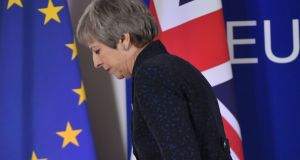 British prime minister Theresa May at an EU summit focused on Brexit. Photograph: Emmanuel Dunand/AFP