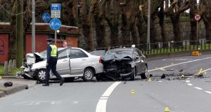 The scene of the crash on Drumcondra Road Lower. Photograph: Collins