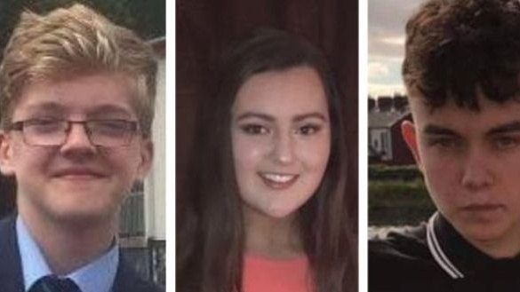 Morgan Barnard (left), Lauren Bullock and Connor Currie who died outside a disco in Cookstown on St Patrick's night.