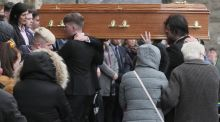 The coffin of Morgan Barnard is taken into St Patrick's Church, Dungannon for his funeral.  Photograph: Brian Lawless/PA