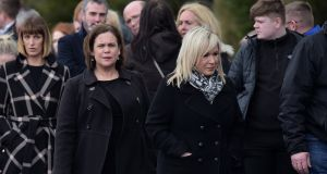 Mary Lou McDonald and Michelle O'Neill of Sinn Féin  join mourners at the funeral of Connor Currie.  Photograph: Charles McQuillan/Getty