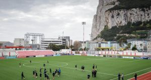 Gibraltar train at the Victoria Stadium ahead of their clash with Ireland. Photograph: Ryan Byrne/Inpho