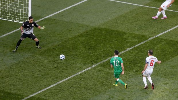 Robbie Keane scores the opener during Ireland's 7-0 win over Gibraltar in 2014. Photograph: Donall Farmer/Inpho