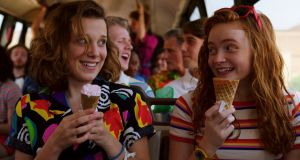 Millie Bobby Brown and Sadie Sink in Stranger Things, one of Netflix's hit original series. Photograph: Netflix