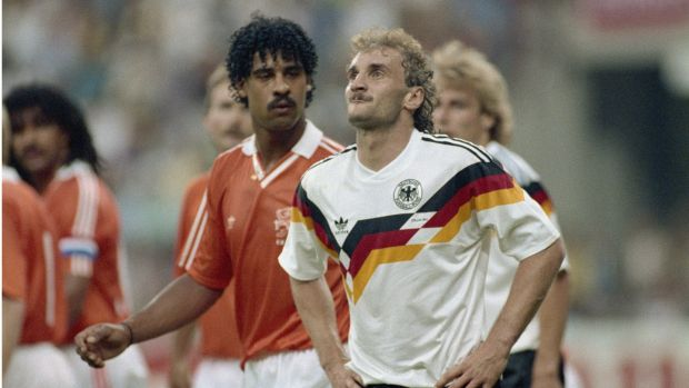 When the two countries met at Italia 90, the Netherlands' Frank Rijkaard spat at West Germany's Rudi Voller twice and both men were sent offat the Giuseppe Meazza Stadium in Milan, Italy. West Germany won 2-1. Photograph: Allsport UK /Allsport