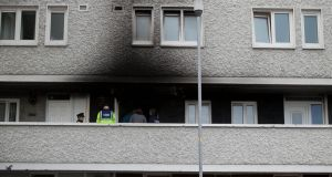 The scene of a fire at  Tyrone Place flats  in Inchicore, Dublin. Photograph: Gareth Chaney/Collins