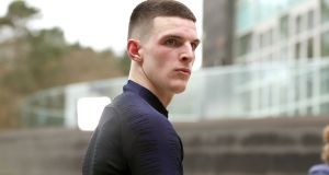 "Declan Rice: ""As you can hear, I am English. It was really good playing for Ireland. Now I'm just looking forward to the future and putting on an English shirt."" Photograph:    Martin Rickett/PA"