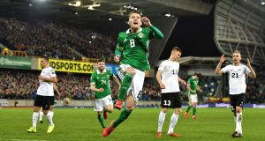 Steven Davies of Northern Ireland celebrates after scoring  against Estonia in  the Group C qualifying match  at Windsor Park, Belfast.  Photograph: Charles McQuillan/Getty Images