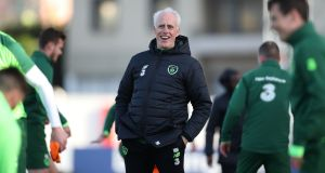 Mick McCarthy during training ahead of Ireland's game against Gibraltar. Photograph: Peter Cziborra/Reuters