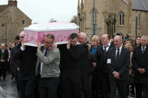 The coffin of Lauren Bullock is taken from St Patrick's Church, Donaghmore, Co Tyrone, after her funeral. Lauren was one of three teenagers killed after a crush at a disco at Greenvale Hotel, Cookstown, Co Tyrone, on St Patrick's Day. Photograph: Liam McBurney/PA Wire