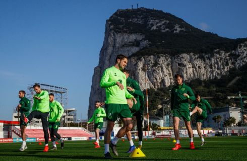 Robbie Brady (centre) trains with other members of the Republic of Ireland squad at Victoria Stadium, Gibraltar, ahead of a UEFA Euro qualifiers match against the rock on Saturday. Photograph: Ryan Byrne/INPHO