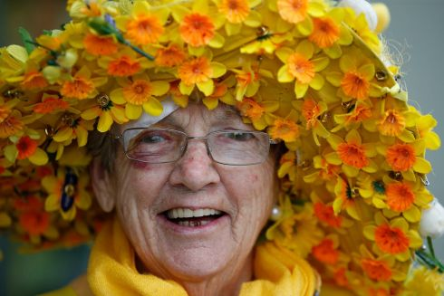 One of 6,000 volunteers across the country, Dora Bracken (84), takes part in Daffodil Day, Ireland's biggest fundraiser for cancer patients. Photograph: Nick Bradshaw/The Irish Times