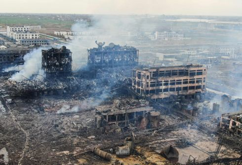An aerial view of damaged buildings after an explosion at a chemical plant in Yancheng in China's eastern Jiangsu province. Chinese president Xi Jinping ordered local governments to prevent any more industrial disasters after the blast killed at least 47 people and injured hundreds. Photograph: China OUTSTR/AFP/Getty Images
