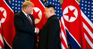 US president Donald Trump and North Korean leader Kim Jong-un at their meeting in Vietnam last month, at which they failed to reach an agreement. Photograph: Doug Mills/New York Times
