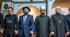 From left to right: New Zealand ambassador for Ireland Brad Burgess, Rabbi Zalman Lent, Imam Dr Sheikh Umer and Church of Ireland Archbishop Michael Jackson attend the memorial gathering for those killed in Christchurch at Islamic Cultural Centre of Ireland on Friday. Photograph: James Forde/The Irish Times