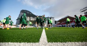 The Republic of Ireland training  at the  Victoria Stadium in  Gibraltar. Photograph: Peter Cziborra/Reuters